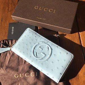 NWT Gucci Ostrich Zip Around Wallet